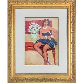 "Henri Matisse Limited Edition Signed Lithograph ""La Robe Bleue"" + Frame For Sale"