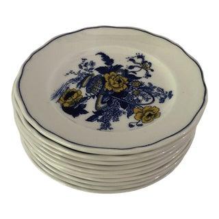 Vintage Enoch Wedgwood Blue & Yellow Floral Set of 10 Dessert Plates For Sale