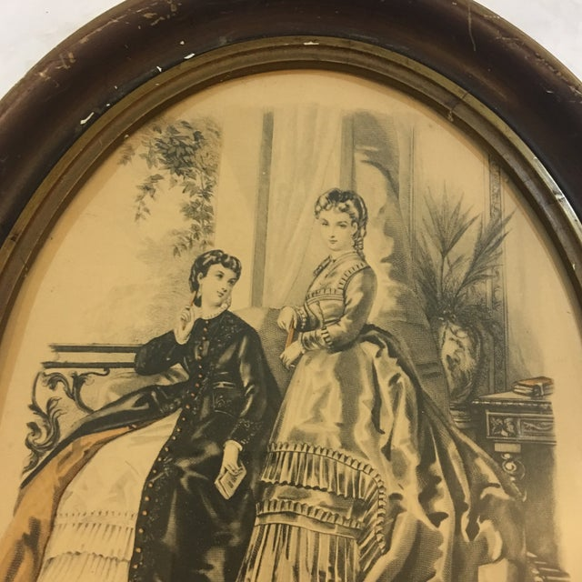 French 19th Century Oval Frame of French Fashions For Sale - Image 3 of 10