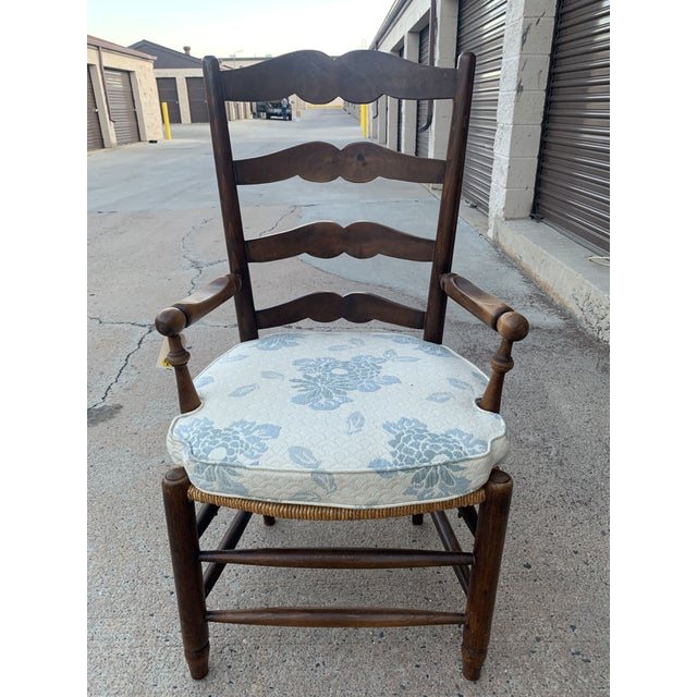1980s Vintage French Provincial Ladder-Back Armchairs- a Pair For Sale - Image 4 of 13