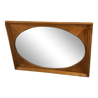 Large 43 X 31 Vintage Framed Oval Inset Wall Mirror Wood For Sale