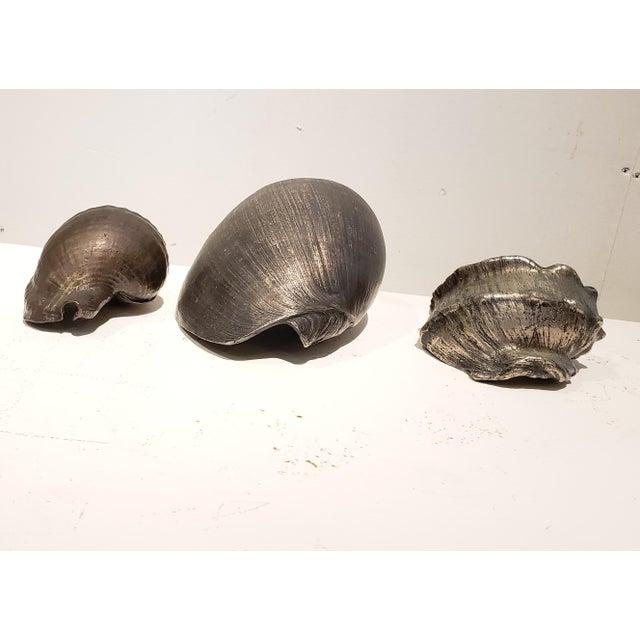 Large Vintage Italian Silvered Bronze Seashells- Set of 3 For Sale - Image 9 of 12