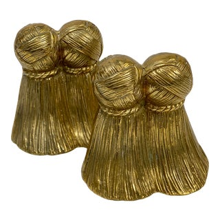 Vintage Brass Tassel Bookends - a Pair For Sale
