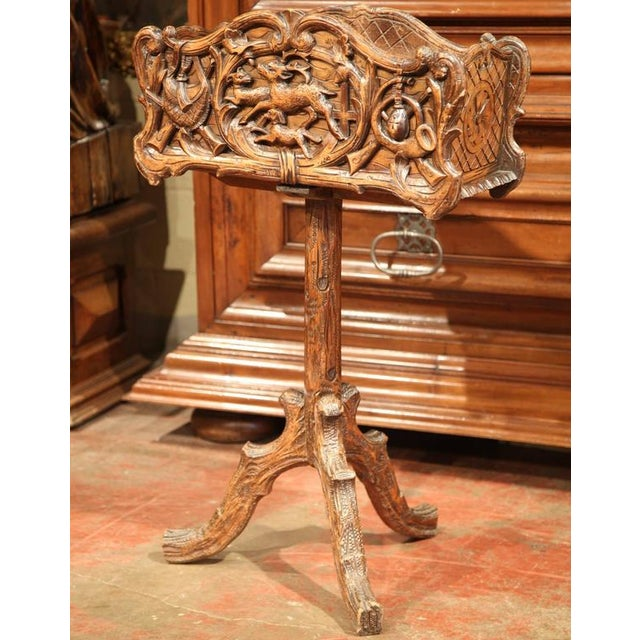 19th Century French Carved Black Forest Jardiniere With Hunting Attributes - Image 5 of 9