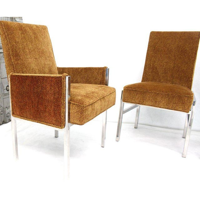 Set of Eight Chrome Frame New Upholstery Dining Chairs Two-Arm Chairs For Sale - Image 10 of 13