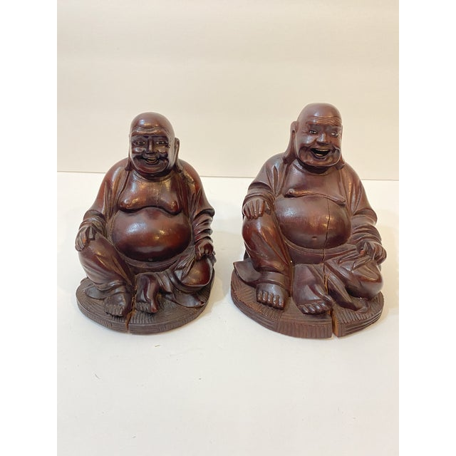 Vintage Chinese Hand Carved Bamboo Buddha Figurines - Pair For Sale In Nashville - Image 6 of 12
