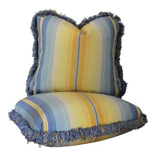 1970s Americana Striped and Fringe Trimmed Pillows- a Pair