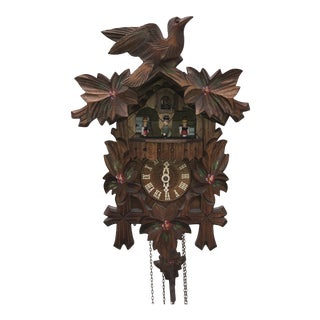Vintage Collectible Handcrafted Floral German Switzerland Black Forest Cuckoo Clock #8 For Sale