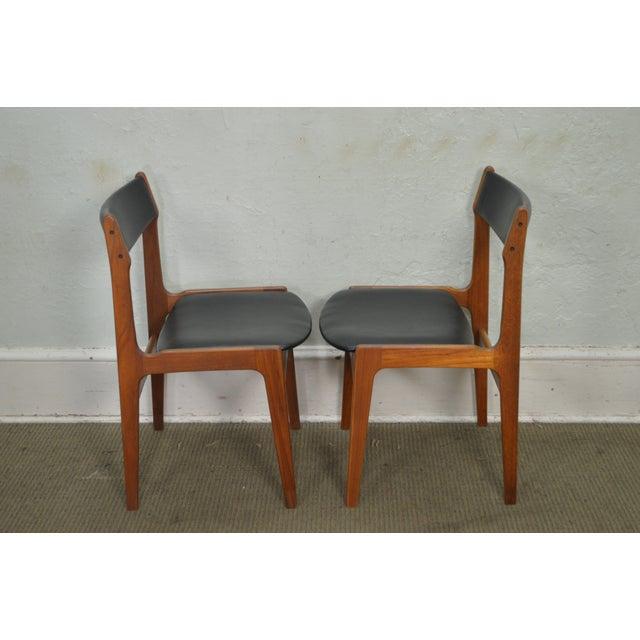Danish Modern Danish Modern Teak & Black Leather Dining Chairs - Set of 4 For Sale - Image 3 of 11