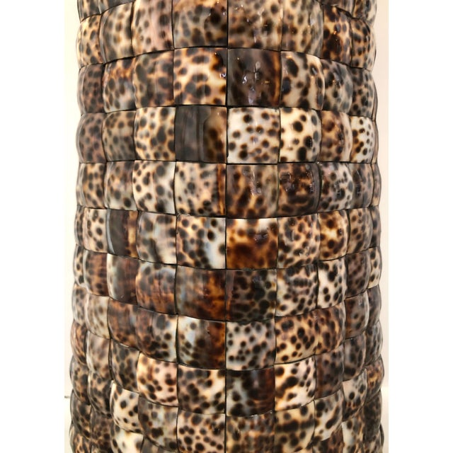 XL Mosaic Shell Table Lamp With Shade For Sale In Miami - Image 6 of 11