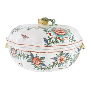 Late 19th Century Vintage French Faience Porcelain Covered Tureen For Sale