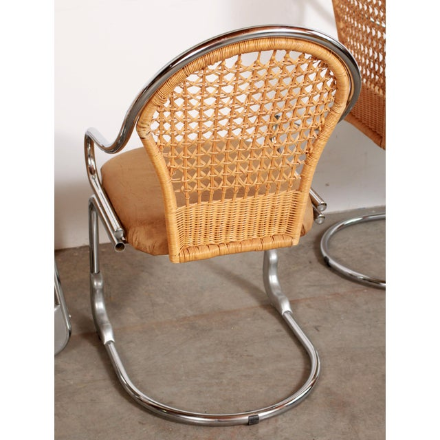 Mid Century Modern Italian Chrome & Woven Rattan Wicker Dining Chairs - Set of 4 For Sale - Image 4 of 11