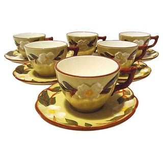 Stangl White Dogwood Cups & Saucers - Set of 12