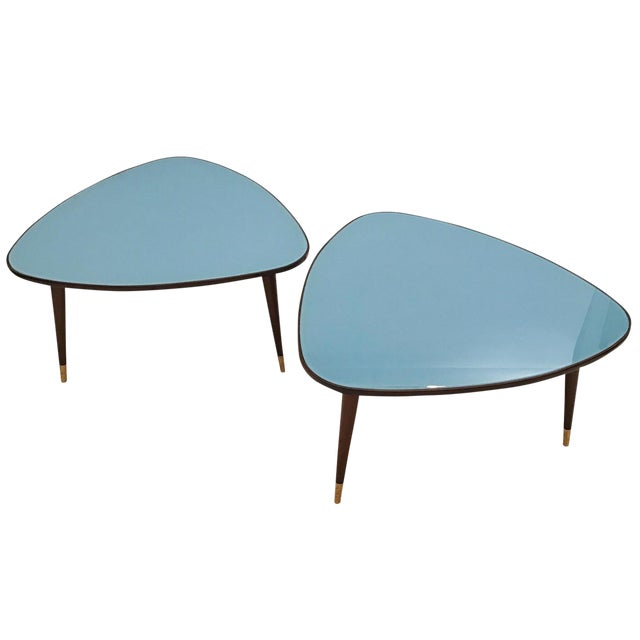 1950s Osvlado Borsani Stained Mahogany and Blue Glass Triangular Cocktail Tables - a Pair For Sale