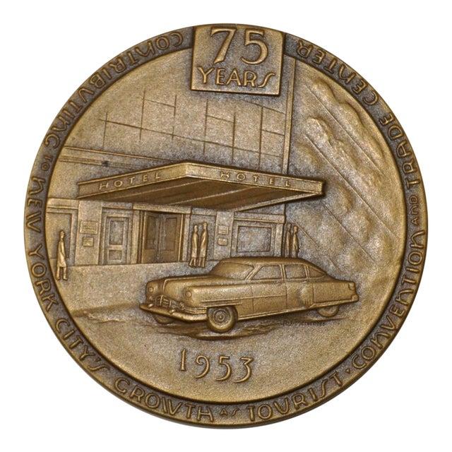 Hotel Association of New York City 75th Anniversary Commemorative Bronze Medallion c.1953 For Sale