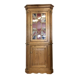 English Pine Astral Glased Union Jack Corner Cupboard For Sale