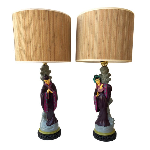 Pair of Asian Figural Table Lamps For Sale - Image 13 of 13