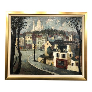 French Village Scene Painting, 1940 For Sale
