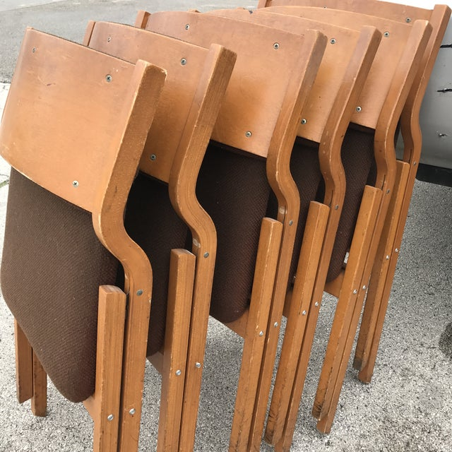Wood Mid-Century Modern Folding Chairs - Set of 6 For Sale - Image 7 of 8