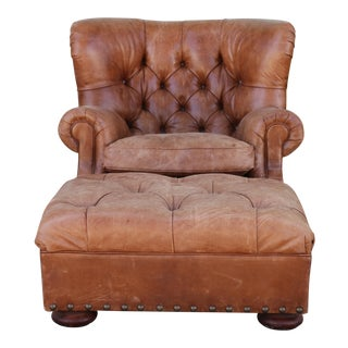 """Distressed Ralph Lauren """"Writers Chair"""" & Ottoman For Sale"""