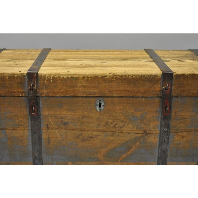 Americana Late 19th Century Antique Primitive Wooden Trunk/Blanket Chest For Sale - Image 3 of 13