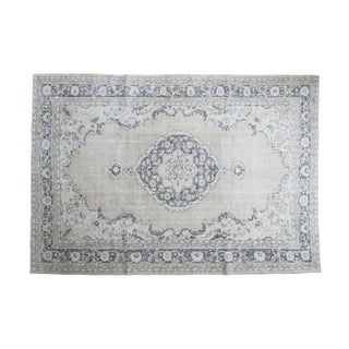 "Distressed Oushak Carpet - 7'3"" X 10'4"" For Sale"
