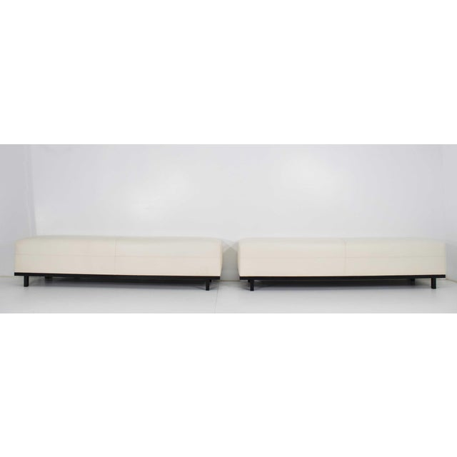 Black Pair of Christian Liaigre Nankin Benches in White Leather For Sale - Image 8 of 10