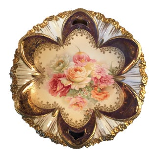 1890s Antique Rs Prussia Hand Painted Floral Cake Plate For Sale