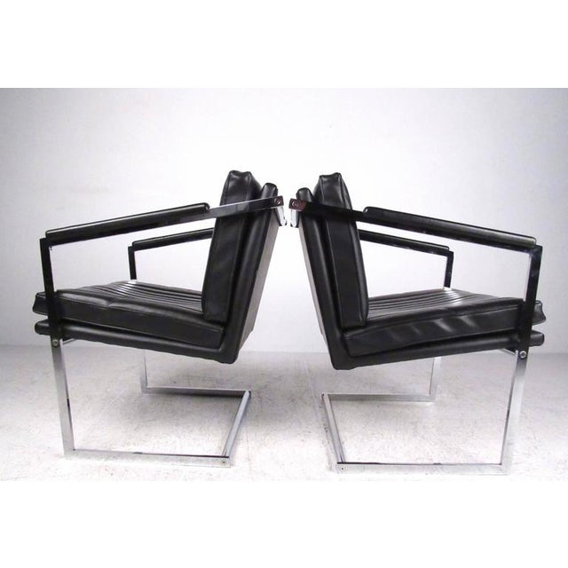 Pair of Vintage Modern Cantilevered Side Chairs For Sale - Image 4 of 9