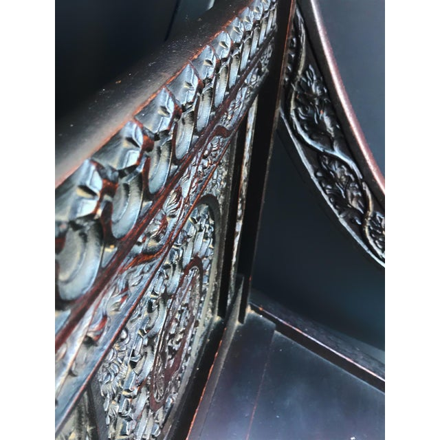 Burnt Umber Antique Tudor Revival English Manor House Carved Hall Chair For Sale - Image 8 of 13