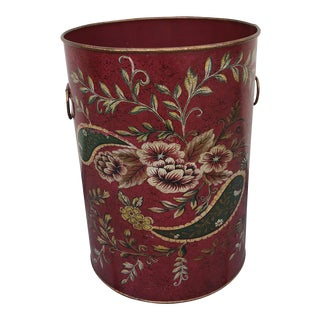 Red Floral Painted Metal Wastebucket