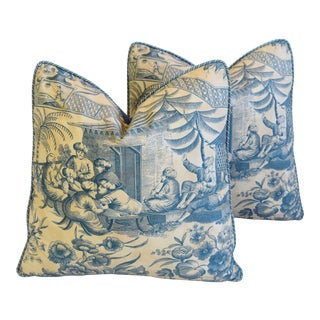 "Old World Weavers Chinoiserie Toile Feather/Down Pillows 21"" Square - Pair For Sale"