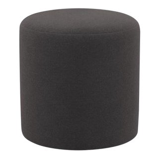 Drum Ottoman in French Gray Velvet For Sale