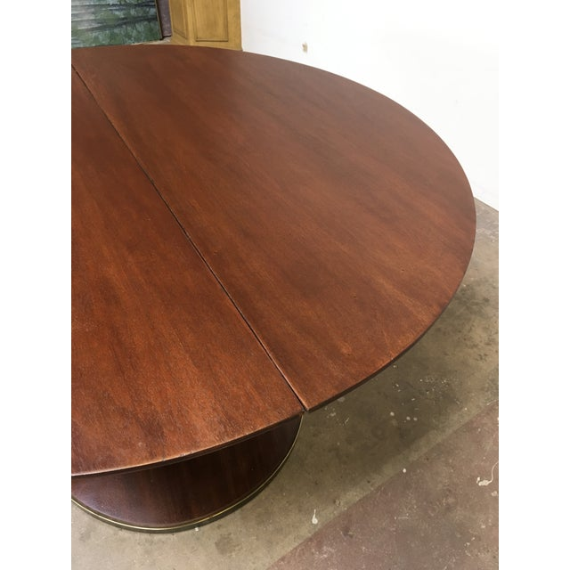 Metal T.H. Robsjohn-Gibbings Expandable Round Mahogany Dining Table For Sale - Image 7 of 13