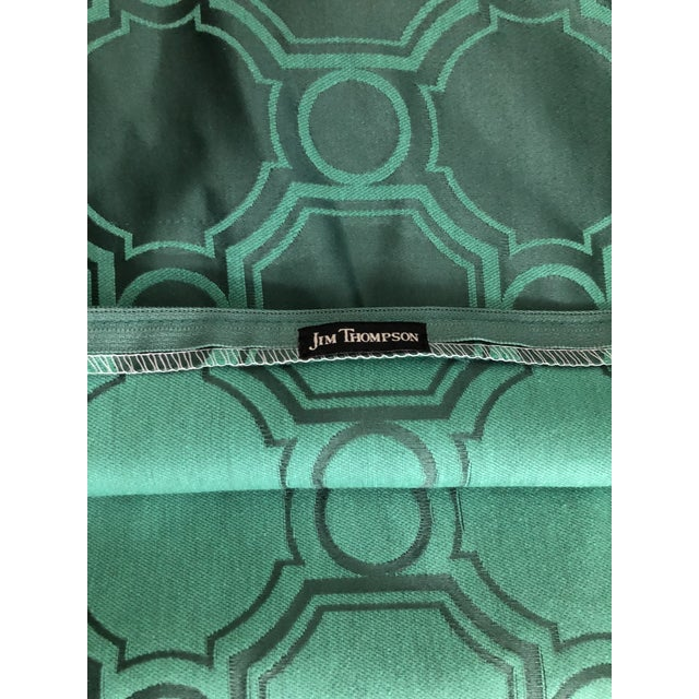 "Green 24"" Square Pair of Jim Thompson Emerald Green Pillows in Asia Major For Sale - Image 8 of 9"