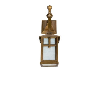 Late 20th Century Arts and Crafts Bronze Exterior Sconce With White Glass For Sale