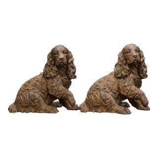 Pair of Belgium Resin Cocker Spaniel Sculptures For Sale