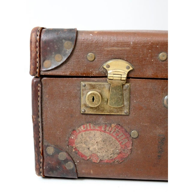 Leather Vintage Suitcase With Travel Stickers For Sale - Image 7 of 8
