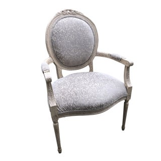 Louis XVI Style Chenille Upholstered Accent Chair With Mohair Back For Sale