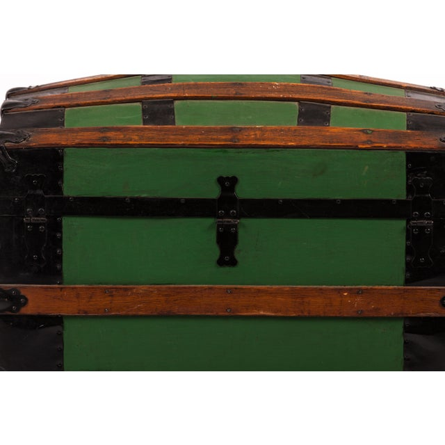 Antique Green Dome Carriage Trunk. Drawing of white ghost on inside lid. No side handles.