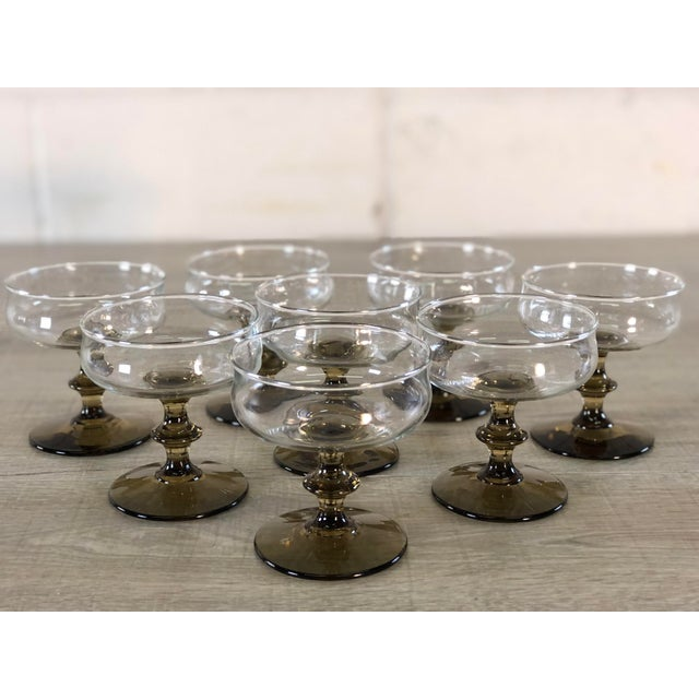 Vintage 1960s Smoked Base Glass Coupe Stems, Set of 8 For Sale In Boston - Image 6 of 9