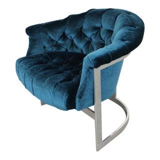Mid-Century Modern John Stuart Tufted Crushed Velvet Chrome Base Lounge Chair For Sale