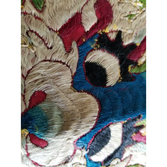 Art Deco Antique Chinese Opera Robe Pillow Fabric For Sale - Image 3 of 5