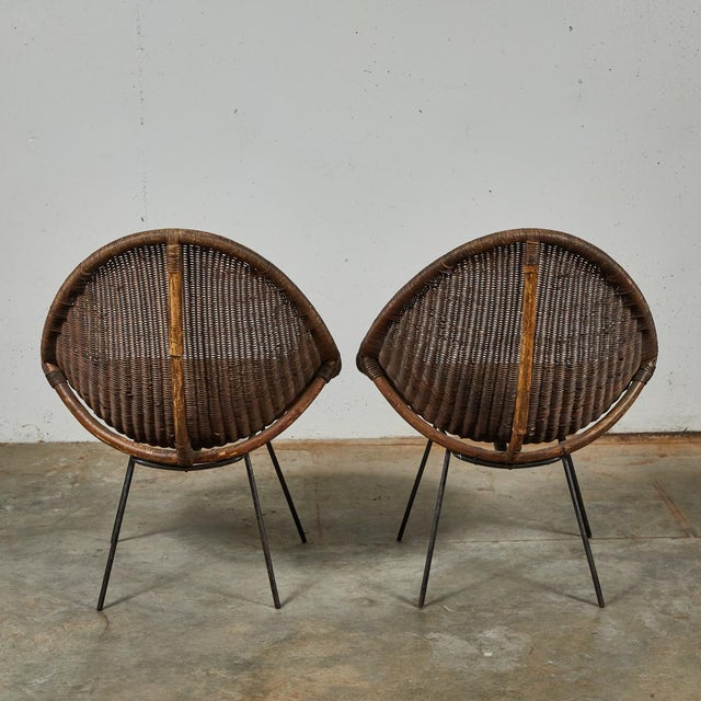 Wood Mid-Century Bamboo and Rattan Chairs From France - a Pair For Sale - Image 7 of 11