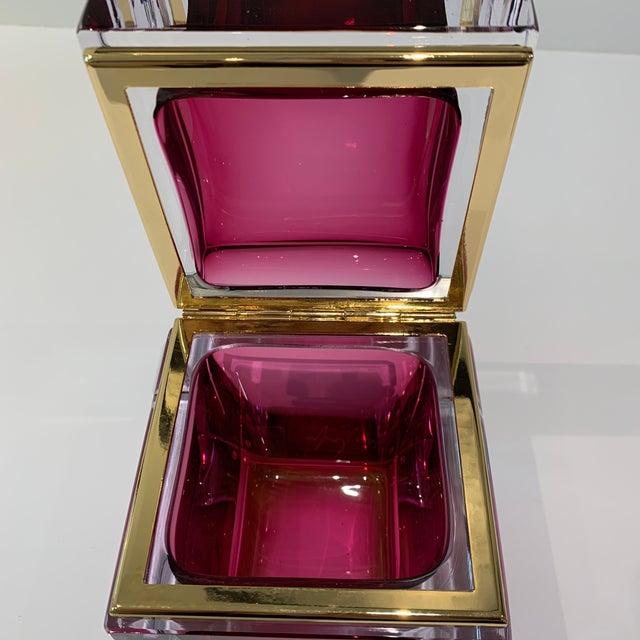 Magenta Italian Mandruzzato Murano Glass Hinged Box For Sale - Image 10 of 11