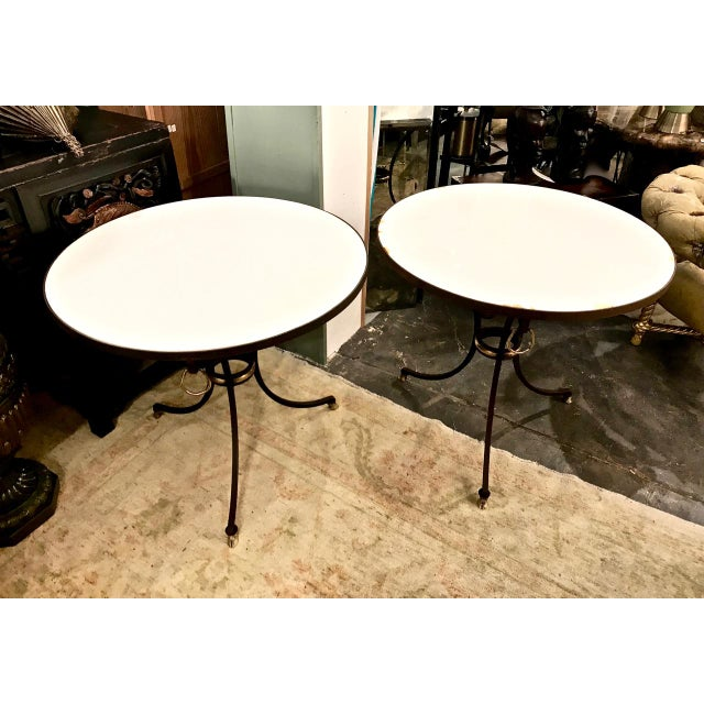 Late 20th Century Pair Wrought Iron & Marble Neoclassical Side Tables C.1970-1980 For Sale - Image 5 of 8