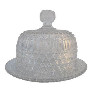 American Brilliant Clear Cut Glass Crystal Butter Cheese Serving Dish Dome Lid For Sale