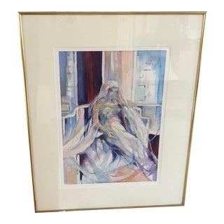 "Original Watercolor ""Pensive Mood"" Framed Matted & Signed by Artist Robert Carter For Sale"