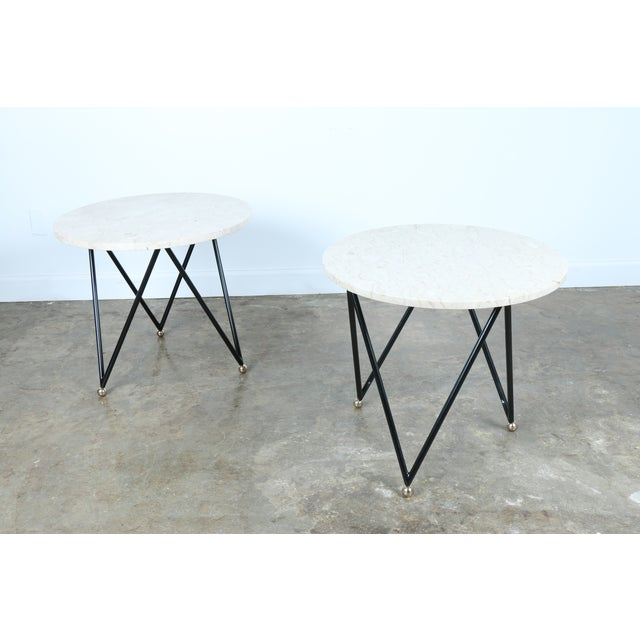 Wrought Iron Marble Top Side Tables - A Pair - Image 9 of 10
