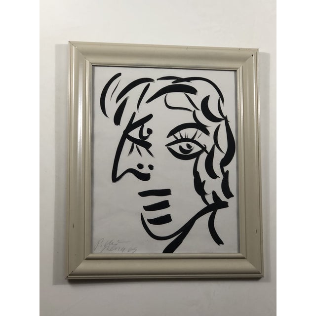 """Abstract 1960's """"White Face"""" Peter Keil Painting For Sale - Image 3 of 3"""